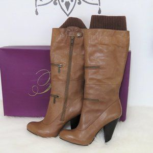 Fergie Tan High Heeled Knee High Boots 10